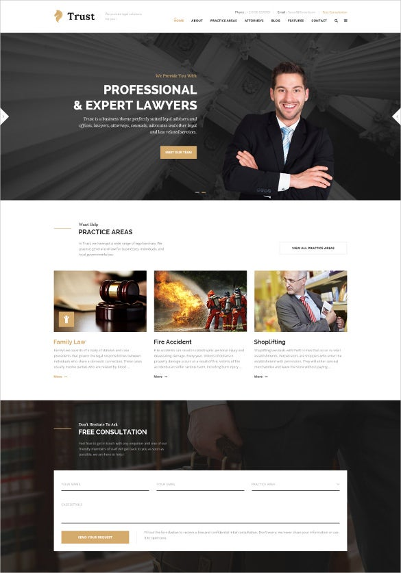 law legal business psd website template