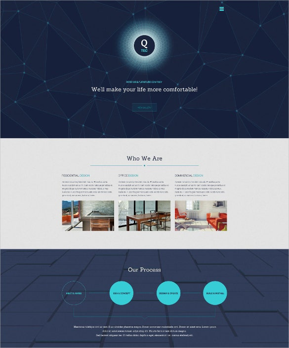 interior furniture website one page template