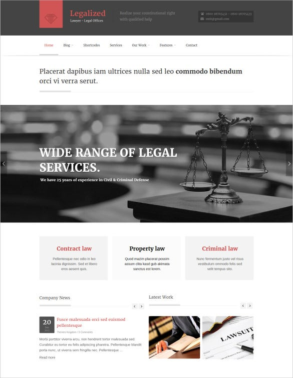 professional law legal wordpress website theme