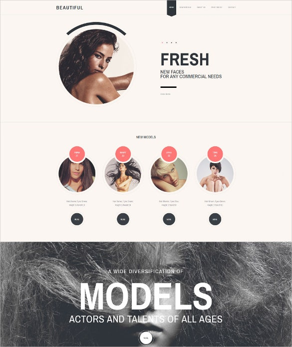 model agency responsive one page website template