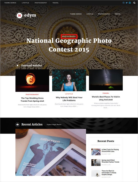 magazine wordpress one page website theme