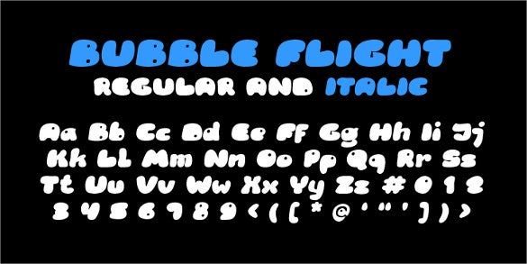 rb bubble flight font