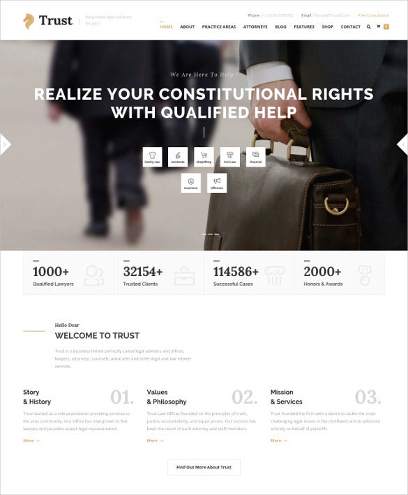 law legal trust html website template