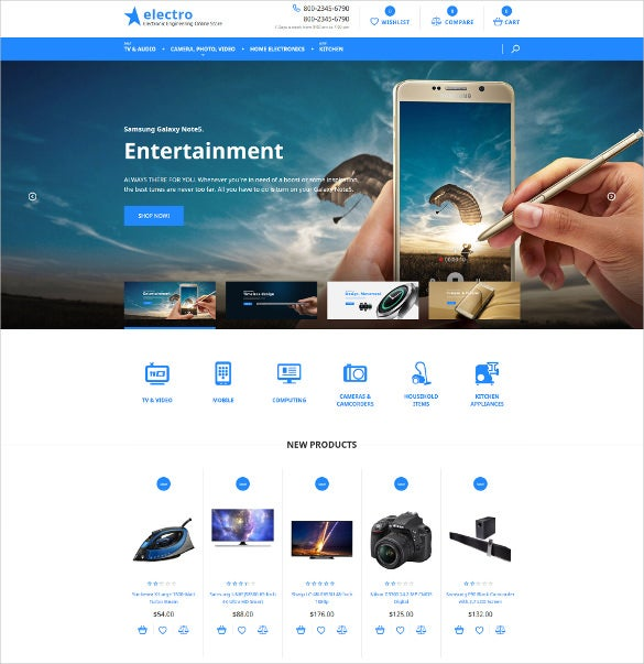 online electronic store ecommerce website template