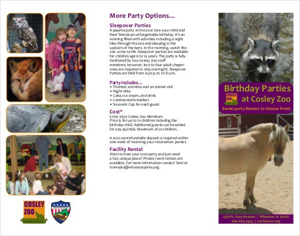 birthday party at cosley zoo itinerary template