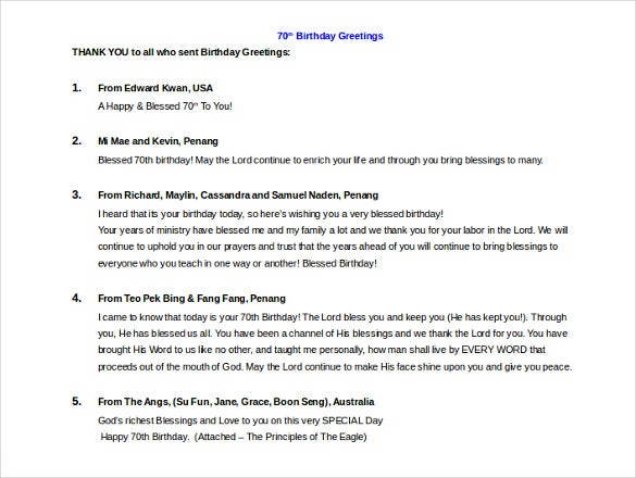 birthday greeting itinerary template