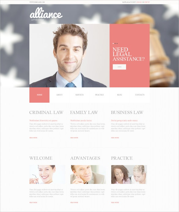 law legal firm psd template