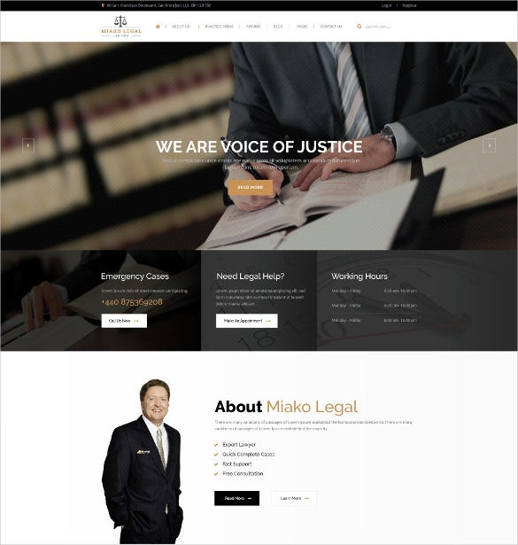 law legal responsive psd template