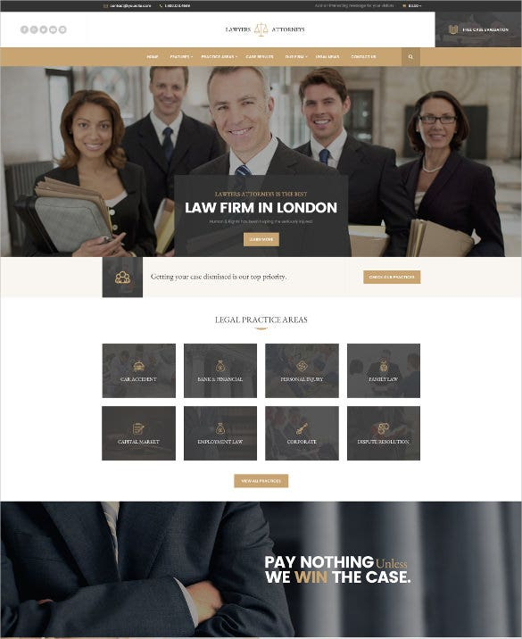 modern law legal firm psd template