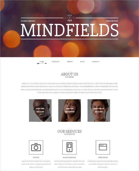 36 portfolio website themes templates free premium for Company portfolio template doc
