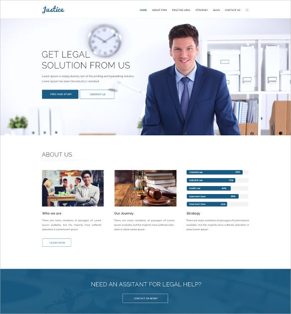 simple law legal busines psd template