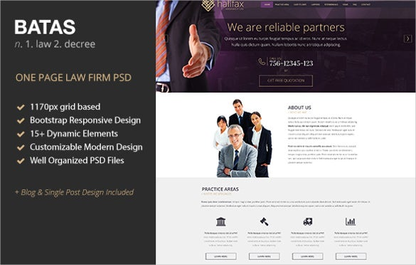 law legal one page psd theme