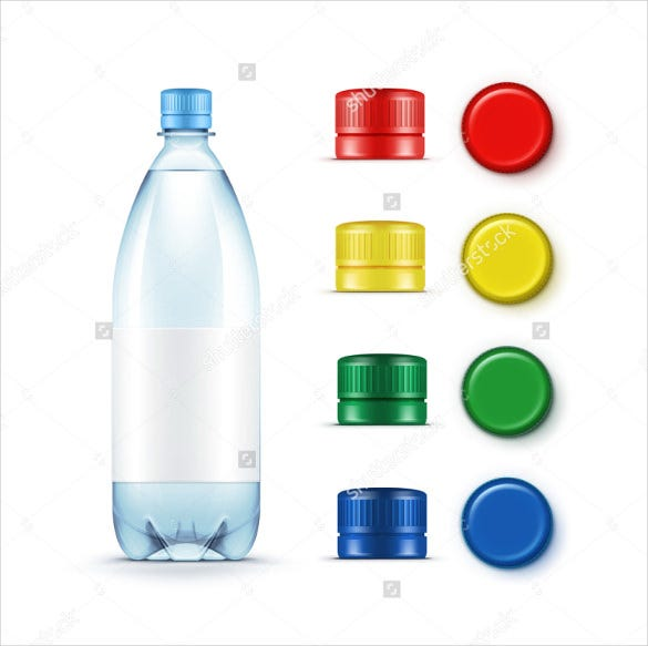 vector blank plastic blue water bottle label template download
