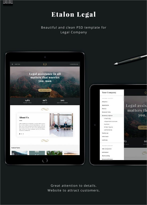 corporate law legal psd template