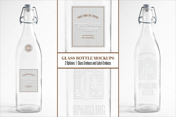 embossed glass water bottle mockup label template