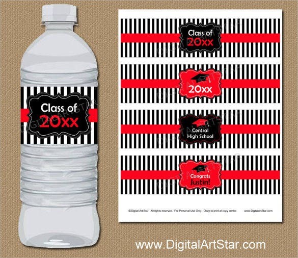 graduation water bottle label template in black white stripes