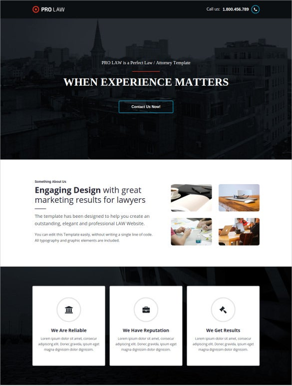 pro law legal psd unbounce template