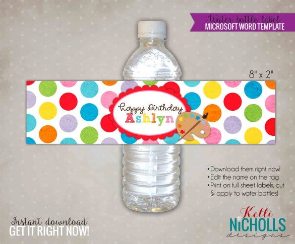 children art water bottle label template