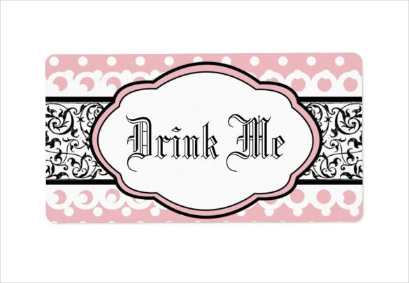 elegant pink and black water bottle label
