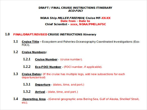 cruise instruction itinerary template2