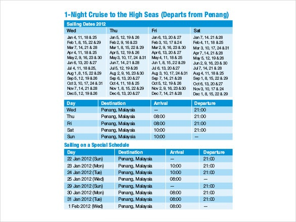 Cruise Itinerary Templates  Free Sample Example Format