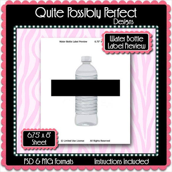 water bottle label preview template instant download psd format