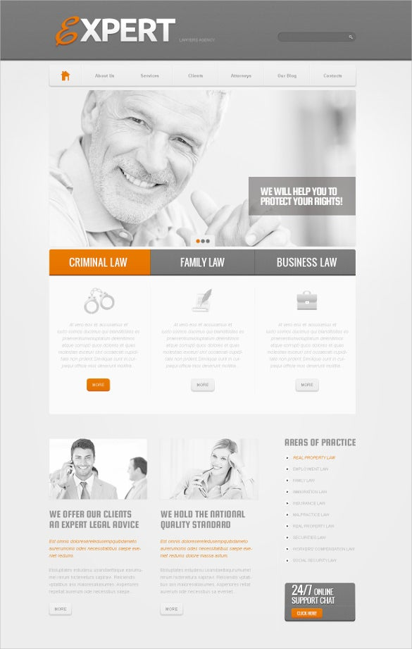 law legal office psd template
