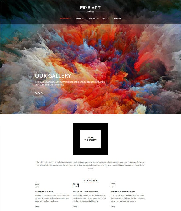 art gallery wordpress website template
