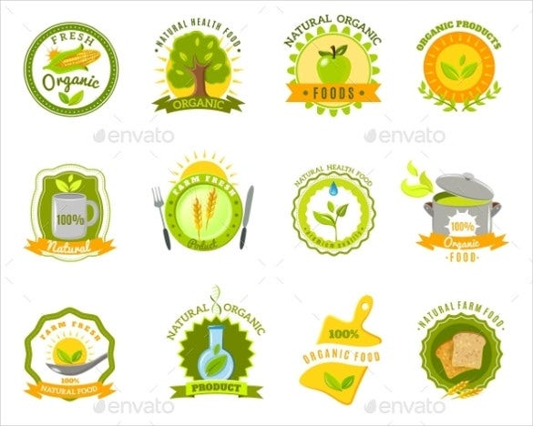organic food brands labels templates set flat vector eps 1
