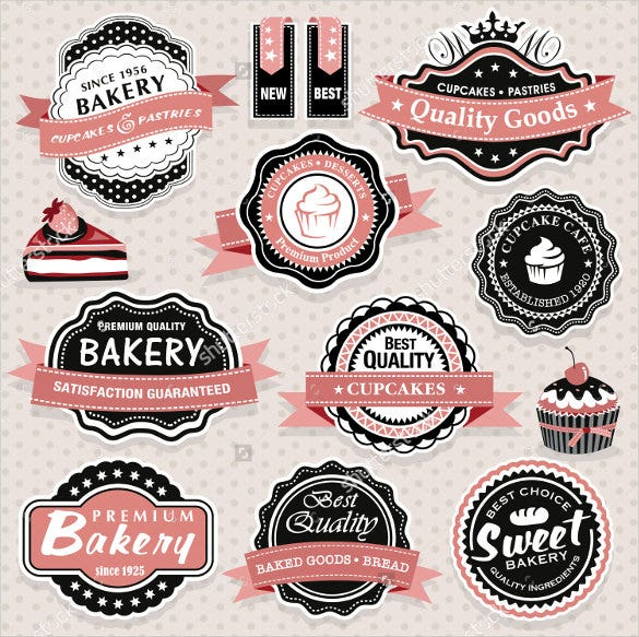collection of vintage retro food labels template