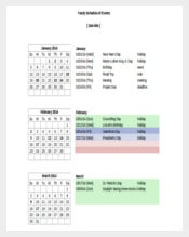 Yearly Schedule Of Events