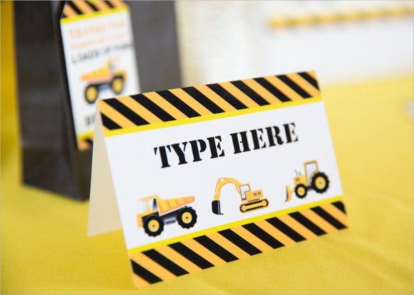 construction party food labels instant download
