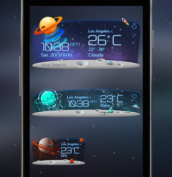 unknow planet weather widget app design1