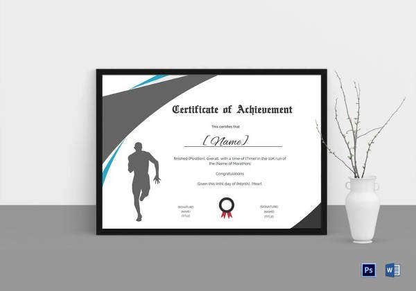 achievement certificate for running template
