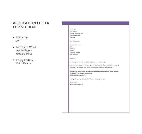 application letter for student template