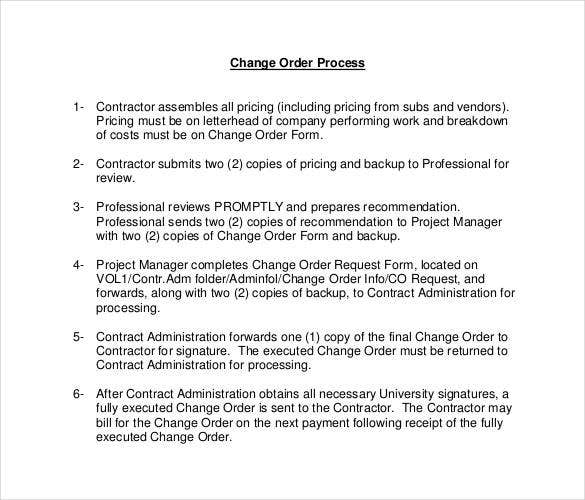Change Order Template – 20+ Free Excel, Pdf Document | Free