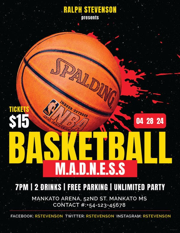 basketball madness flyer template1