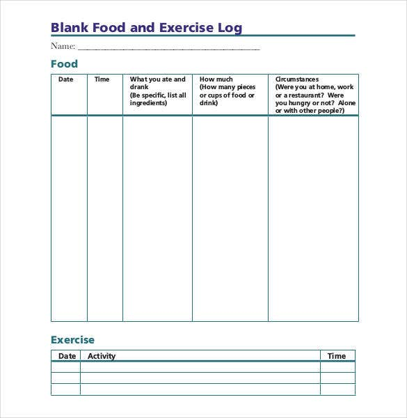 blank food and exercise log