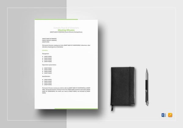 board of directors meeting minutes template to edit