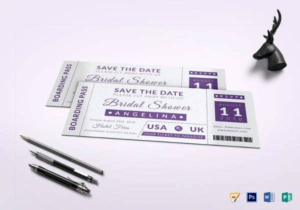 bridal shower boarding pass ticket