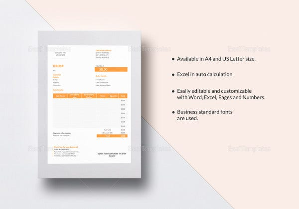 cake order word template1
