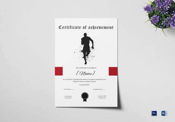 certificate of achievement for running template