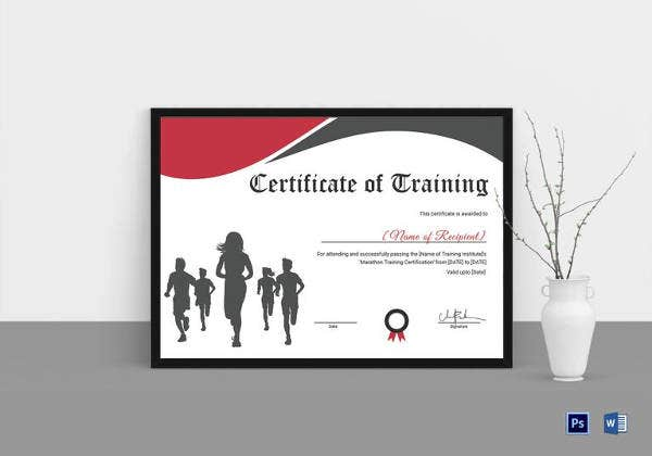 running certificate template 7 free word pdf documents