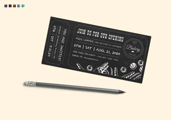 chalkboard ticket template in psd