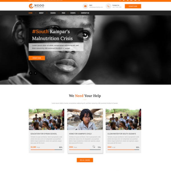 charity non profit and fundraising psd template