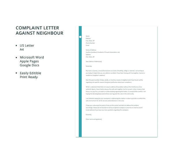 complaint letter against neighbour template