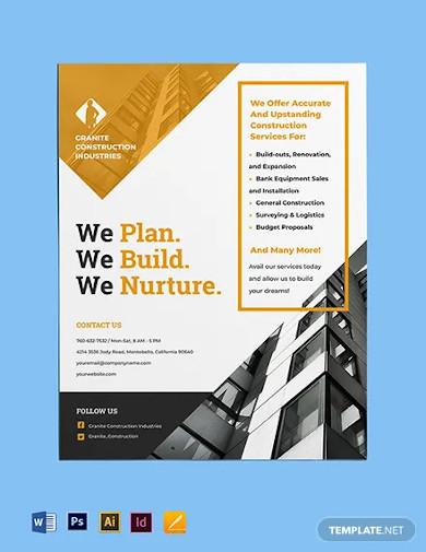 construction renovation flyer template