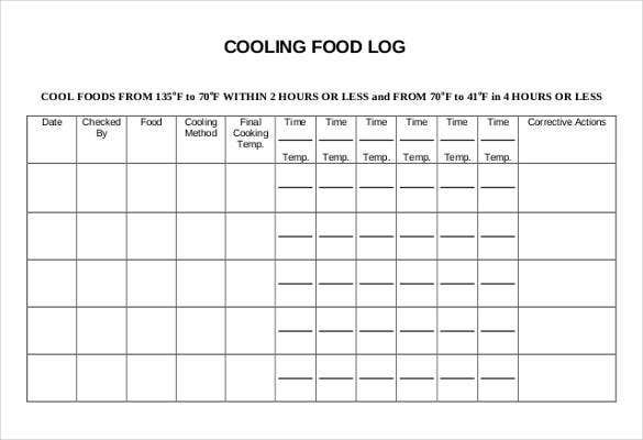 cooling food log templates