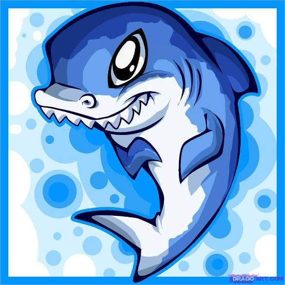 cute shark easy drawing template1