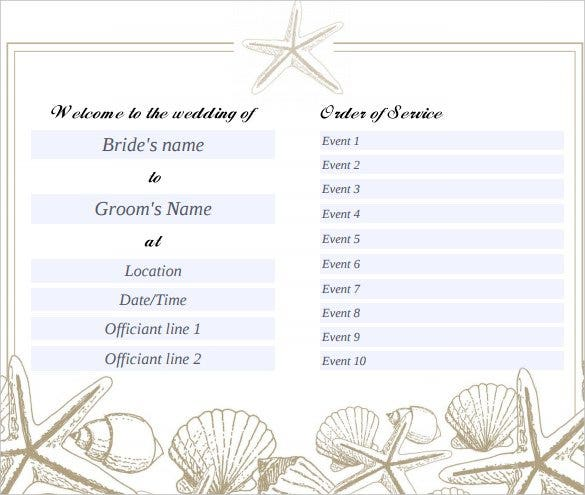 Beach Wedding Program Template Free Pdf